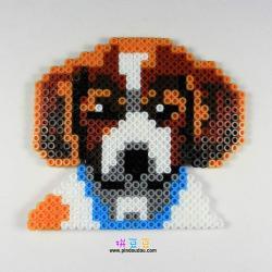 可爱小狗肖像拼豆