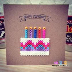 生日快乐蛋糕拼豆